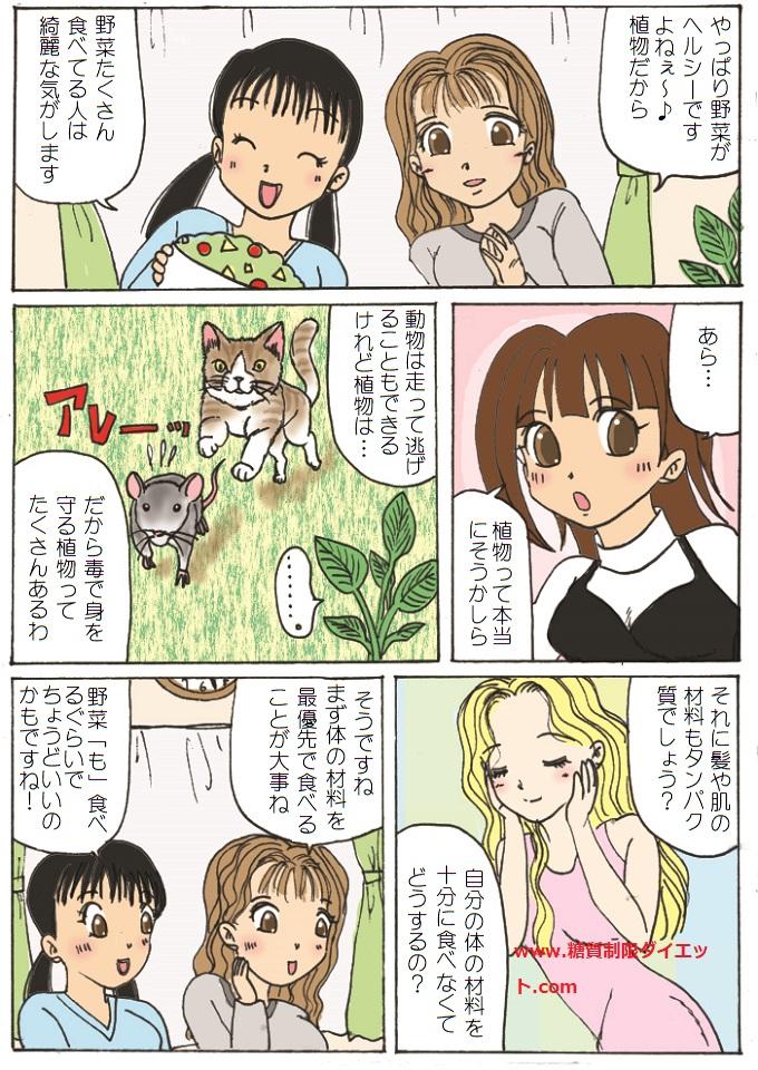 本当に植物性食品は動物性食品よりもヘルシーなのかどうかを解説した漫画