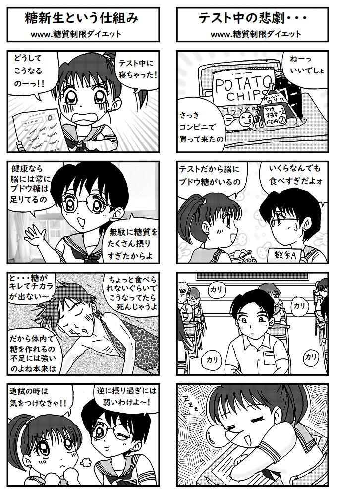 テスト前に糖質をバカ食いして寝てしまった女子高生の漫画