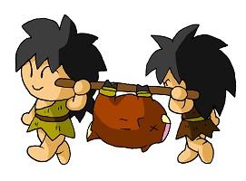 大きな肉を運んでいる原始時代の子供たち