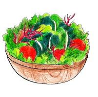 木のボウルに入った美味しそうな野菜サラダ