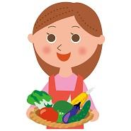 とれたての野菜を持つ女性