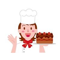 チョコレートケーキを持ったパティシエール