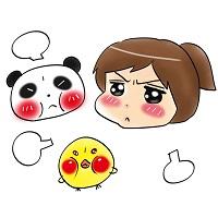 プンプン嫉妬して起こる女の子とパンダとヒヨコ