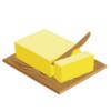 塊のバターをまな板の上で切る
