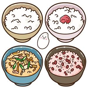 白米・梅干しご飯・炊きこみご飯・赤飯