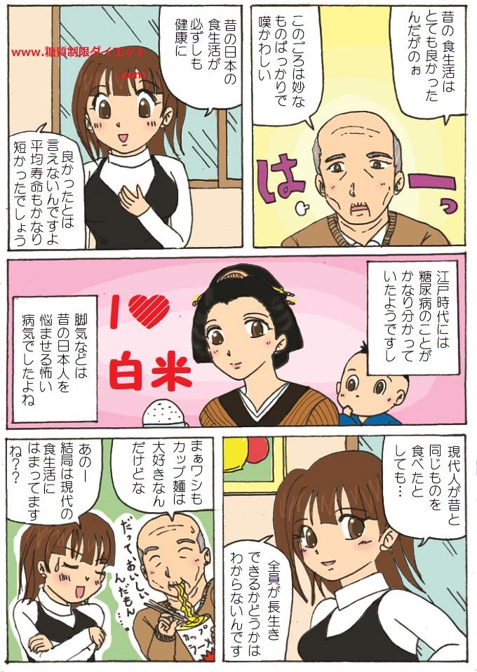「日本型食生活」のススメは本当に正しいのかどうか疑問を投げかける内容の漫画