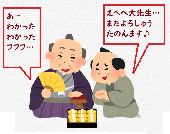 黄金色のお菓子を贈る人と受け取る人(賄賂)