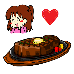 美味しそうなステーキを食べる女性