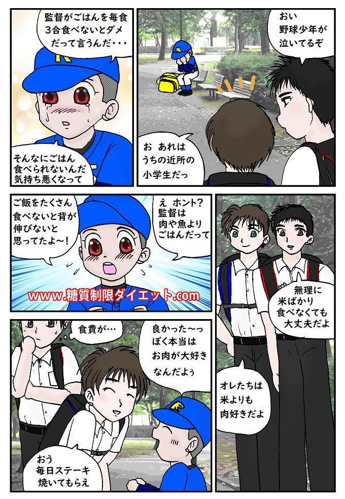 野球少年と長身高校生の漫画