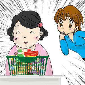 スーパーでカゴに山盛りのお菓子を買う太っている女性