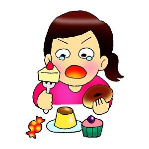泣きながら糖質を過食する女性