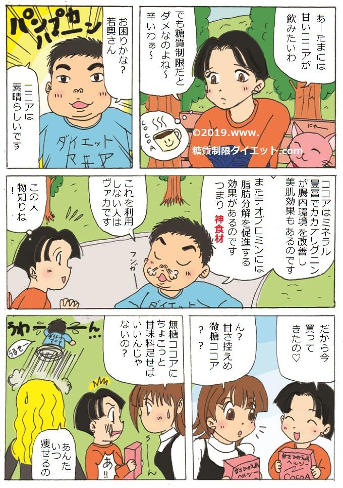 ココアは健康に良いが砂糖を入れなくてもいいという内容の糖質制限漫画