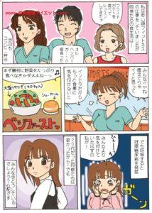 20代のインストラクターの不健康な食生活に関する漫画