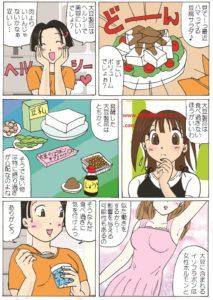 大豆製品の過剰摂取は健康に良くないという内容の漫画
